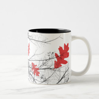 Red leaves and branches Two-Tone mug