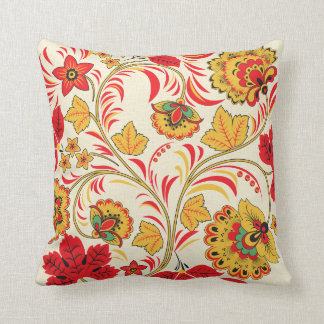 Red Leaves Khokhloma Cushion