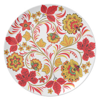 Red Leaves Khokhloma Party Plate