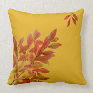 Red Leaves on Branches Fall Themed Throw Pillow