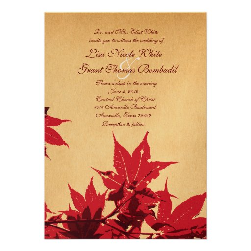 Red Leaves on Gold Wedding Invitations