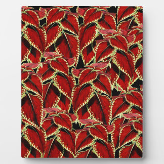 Red Leaves Pattern On Black Plaque