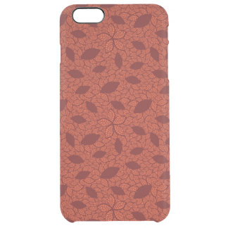 Red leaves pattern on orange clear iPhone 6 plus case