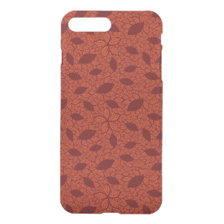 Red leaves pattern on orange iPhone 7 plus case