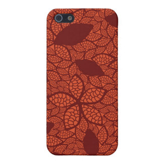 Red leaves pattern on orange cases for iPhone 5