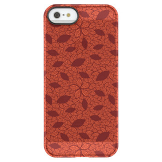 Red leaves pattern on orange permafrost® iPhone SE/5/5s case