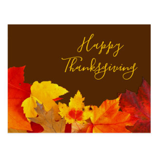 Red Leaves Thanksgiving Mailing Address Postcard