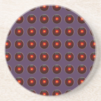 Red LED Polka Dots On Acai Violet Background Drink Coaster