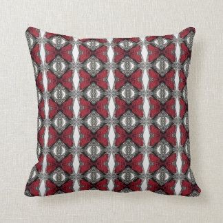 Red Lens Pattern, Black Back Throw Pillow