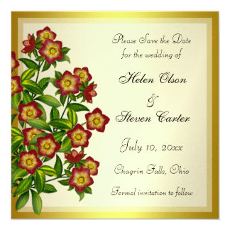 """Red Lenten Rose Hellebore Floral Save the Date 5.25"""" Square Invitation Card"""