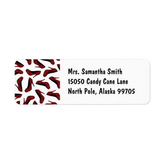 Red Leopard High Heels Print Return Address Label