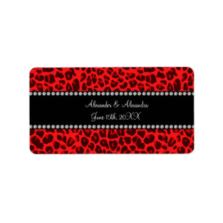 Red leopard pattern wedding favors address label