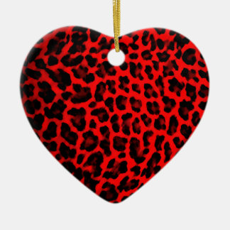 Red Leopard Print Ceramic Ornament