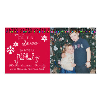 Red Let's Be Jolly Chrstmas Holiday Photo Card