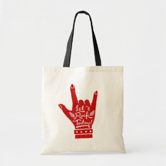 Red Lets Rock Today Grunge Tote Bag