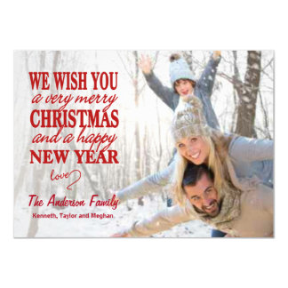 Red Lettered Merry Christmas Full-Bleed Flat Cards 11 Cm X 16 Cm Invitation Card