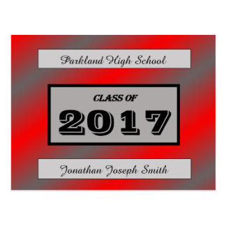 Red/Light Gray Graduation Postcard