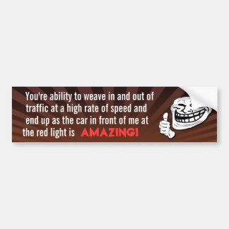 Red Light Troll Bumper Sticker (Brown)