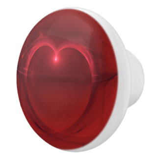 Red Lighted Heart Artwork Over Red Background Ceramic Knob