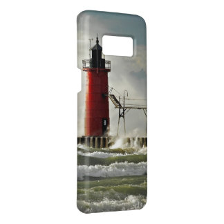 red lighthouse in wind storm Case-Mate samsung galaxy s8 case
