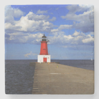 Red Lighthouse Stone Beverage Coaster