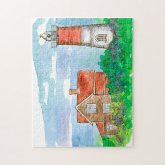 Red Lighthouse Watercolor Jigsaw Puzzle