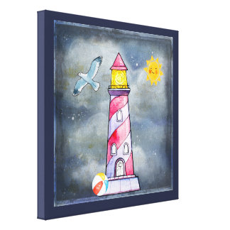 Red Lighthouse with a Stormy Background Canvas Print