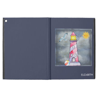 "Red Lighthouse with a Stormy Background Custom iPad Pro 12.9"" Case"