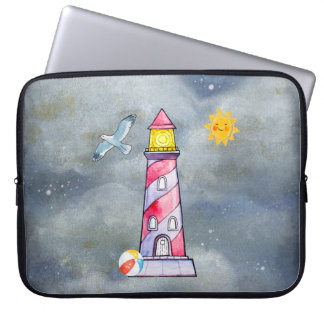 Red Lighthouse with a Stormy Background Laptop Sleeve