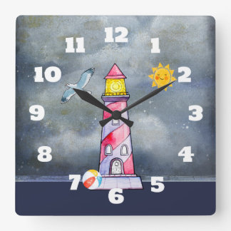 Red Lighthouse with a Stormy Background Square Wall Clock