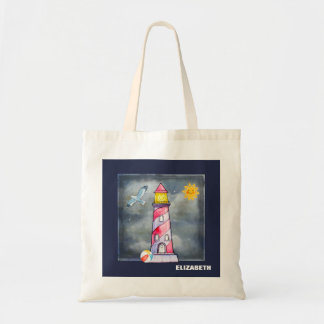 Red Lighthouse with a Stormy Background Tote Bag