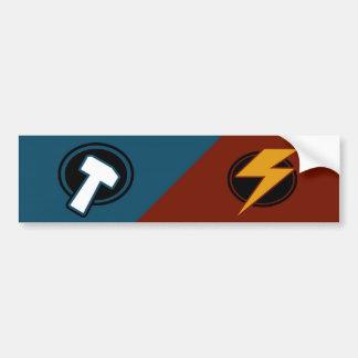 Red Lightning - Blue Hammer - Bumper Sticker