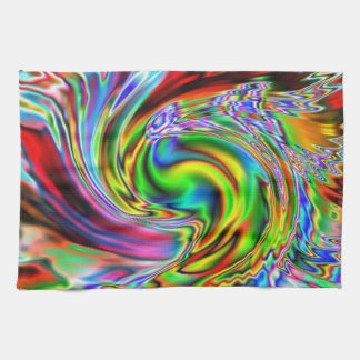 Red Lily Colorized Abstract Tea Towel