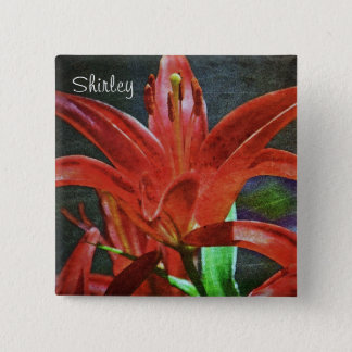 Red Lily-Textured by Shirley Taylor 15 Cm Square Badge