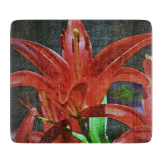 Red Lily-Textured Cutting Board