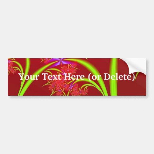 Red Lime Green and Purple Fractal Art Design Bumper Sticker