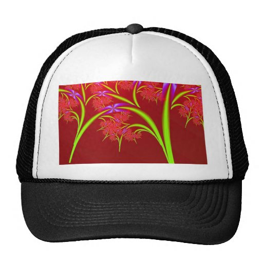Red Lime Green and Purple Fractal Art Design Trucker Hats