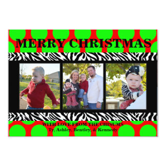 Red, Lime Green, and Zebra Christmas Card