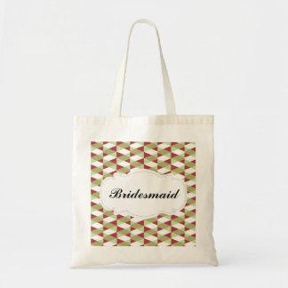 Red & Lime Green Herringbone Pattern Bridesmaid Budget Tote Bag
