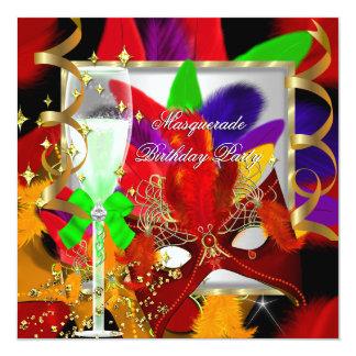 Red Lime Yellow Purple Masquerade Party Birthday 13 Cm X 13 Cm Square Invitation Card