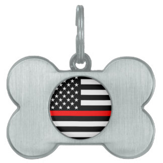 Red Line US Flag on a Pet ID Tag