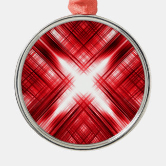 Red lines cross Silver-Colored round decoration