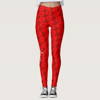 Red Lip Prints with Custom LipBoss Text Leggings