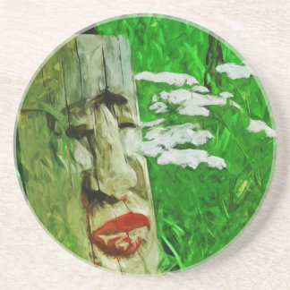 Red Lipped Totem Among Flowers Abstract Coasters