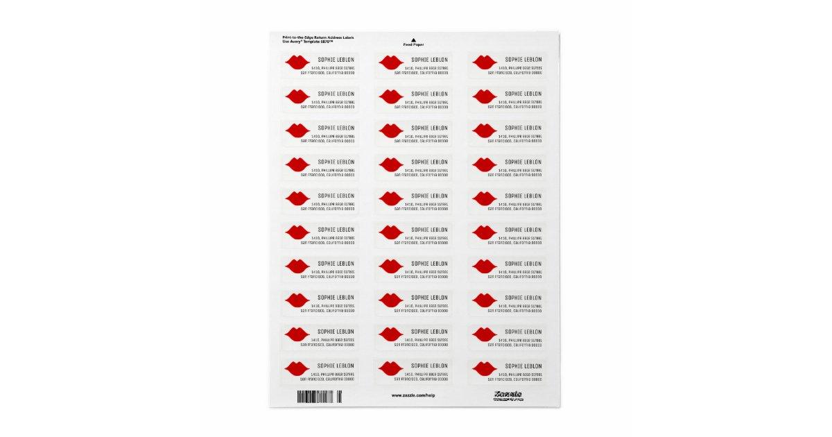 Red lips beauty salon address label with name zazzle for Address beauty salon