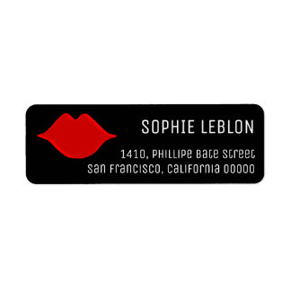 red lips beauty salon nice / stylish black return address label