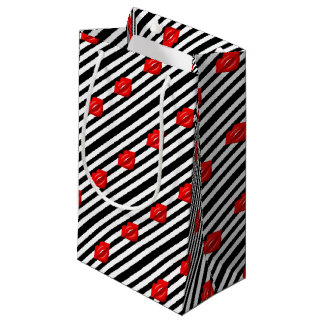 Red lips black white striped gift bag