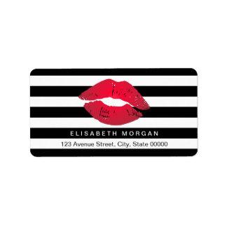 Red Lips Black White Stripes Address Label