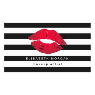 Red Lips Black White Stripes Modern Makeup Artist Pack Of Standard Business Cards