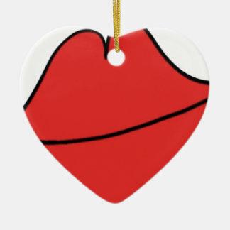 Red Lips Ceramic Ornament